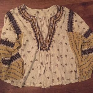Free People Womens Top, Quarter Sleeves Size S